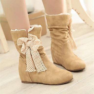 Damen Schuhe PU Winter Modische Stiefel Stiefel Keilabsatz Booties / Stiefeletten Für Normal Schwarz Beige Gelb