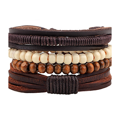 Men's Strand Bracelet / Wrap Bracelet - Leather Personalized, Fashion Bracelet Brown For Street