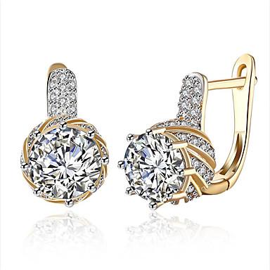 Women's Luxury Hypoallergenic Zircon Clip Earrings - Personalized Luxury Classic Cute Style Hypoallergenic Fashion Simple Style Gold Dark