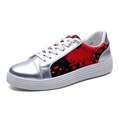 Férfi cipő PU Tavasz Ősz Kényelmes Tornacipők Fűző mert Hétköznapi Fekete Piros Kék