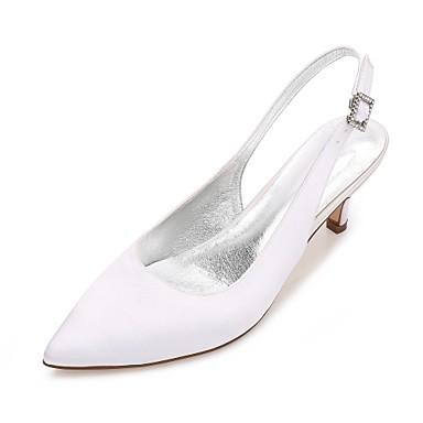 Women's Shoes Satin Spring / Summer Comfort / Basic Pump / Ankle Strap Wedding Shoes Kitten Heel / Cone Heel / Low Heel Pointed Toe