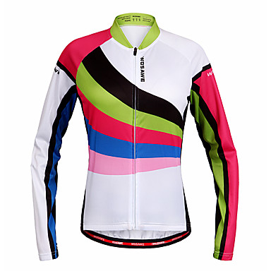 WOSAWE Damen Langarm Fahrradtrikot - Regenbogen Fahhrad Trikot / Radtrikot, Rasche Trocknung Polyester