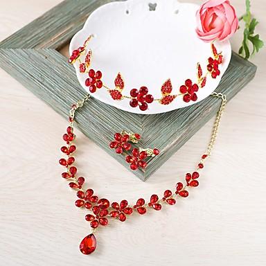 Női Ékszer szett - Virág Divat tartalmaz Nyaklánc Elöl is és hátul is stílusos fülbevalók Piros Kompatibilitás Esküvő