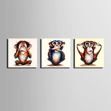 Hang festett olajfestmény Kézzel festett - Állatok Absztrakt Retro Vászon