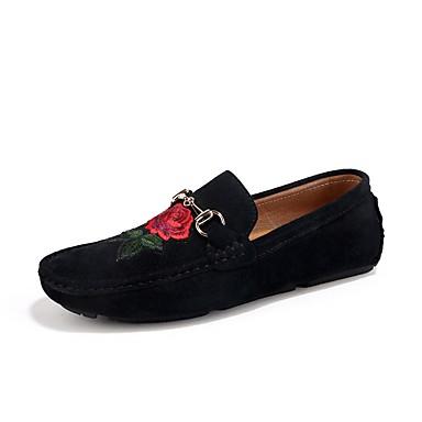 Férfi cipő Szövet Tavasz Ősz Mokaszin Papucsok & Balerinacipők Virág mert Hétköznapi Fekete Szürke Khakizöld