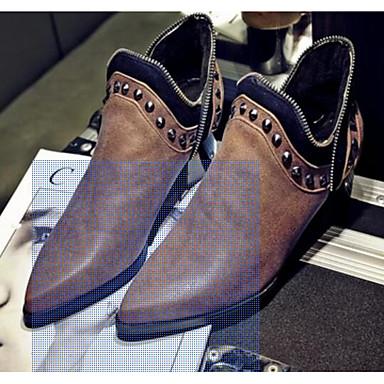 Damen Schuhe Nubukleder PU Herbst Winter Komfort Stiefel Für Normal Schwarz Grau Gelb