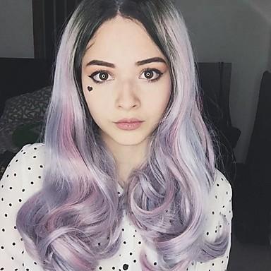 Szintetikus csipke front parókák Természetes hajszálvonal Női Csipke eleje Természetes paróka Hosszú Szintetikus haj