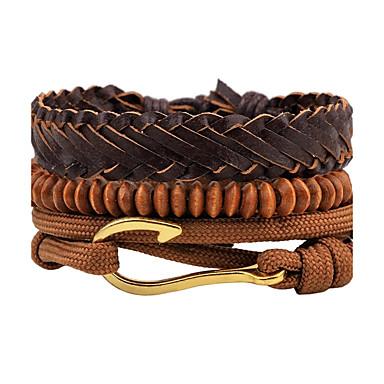 Men's Strand Bracelet / Wrap Bracelet / Leather Bracelet - Leather Personalized, Punk Bracelet Brown For Daily / Stage / Street