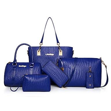 Damen Taschen PU Bag Set 6 Stück Geldbörse Set Reißverschluss für Normal Büro & Karriere Draussen Ganzjährig Blau Weiß Schwarz Rote