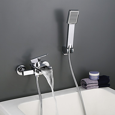Bathtub Faucet - Contemporary Chrome Wall Mounted Ceramic Valve