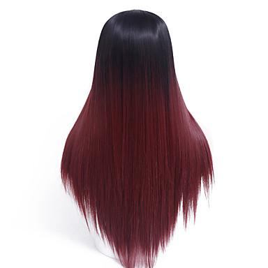 Szintetikus parókák Egyenes Sűrűség Sapka nélküli Természetes paróka Hosszú Szintetikus haj