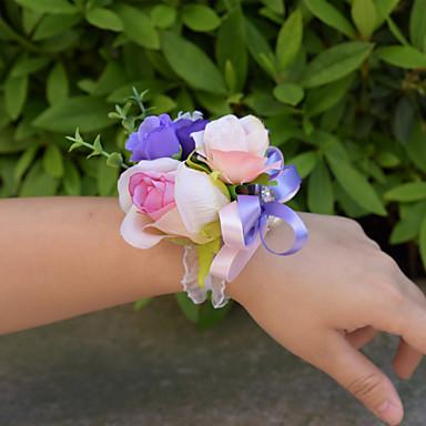 Wedding Flowers Wrist Corsages Wedding Organza Satin 3.94