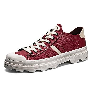 Férfi cipő PU Bőr Tél Ősz Könnyű talpak Kényelmes Tornacipők Fűző mert Hétköznapi Fekete Barna Burgundi vörös