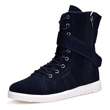 Férfi cipő Fordított bőr Tavasz Ősz Kényelmes Csizmák Magas szárú csizmák Cipzár mert Hétköznapi Hivatal és karrier Fekete Sötétkék