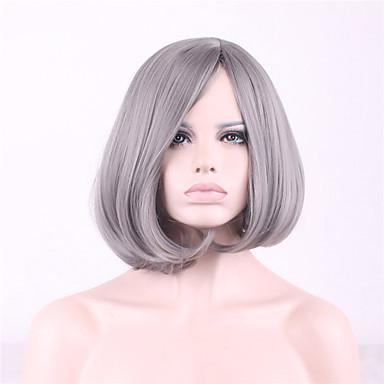 Szintetikus parókák Egyenes / Természetes hullám Aszimmetrikus frizura Szintetikus haj Természetes hajszálvonal Barna / Ezüst Paróka Női