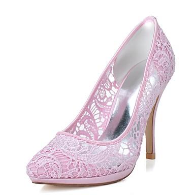 Femme Talon pointu Aiguille Printemps mariage Bout Chaussures Blanc Mariage Eté 06174090 Filet formelles Rose de Chaussures Chaussures rqFrzfnx47