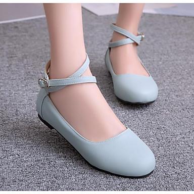 Damen Schuhe PU Frühling Herbst Komfort Sandalen Für Normal Schwarz Rot Blau