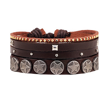 Men's Layered Wrap Bracelet Leather Bracelet - Leather Personalized, Multi Layer Bracelet Brown For Daily Casual Stage