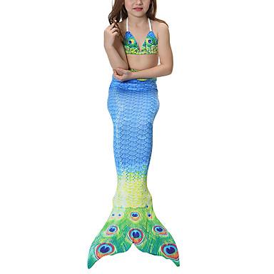 Princess Mermaid Tail Fairytale Bikini Swimwear Kid's Girls' Halloween Carnival Children's Day Festival / Holiday Halloween Costumes Blue