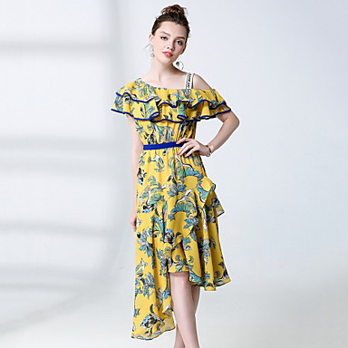 صيف حرير كم قصير ميدي كتف واحد طباعة فستان متأرج جميل ذهاب للخارج نساء,وسط مطاطي صغير وسط