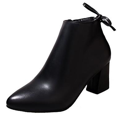 Női Cipő PU Ősz Katonai csizmák Csizmák Vaskosabb sarok Erősített lábujj Csokor / Cipzár Fekete