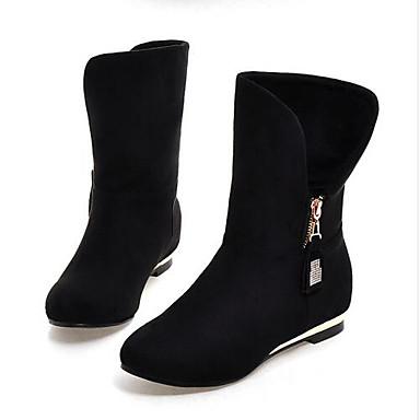 Damen Schuhe Nubukleder Winter Herbst Modische Stiefel Komfort Stiefel für Normal Schwarz Rot Blau