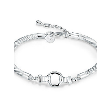 Women's Crystal Chain Bracelet - Silver Plated Friends Geometric, Simple Style, Fashion Bracelet Silver For Wedding Party Birthday