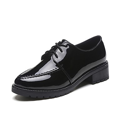 Women's Shoes PU(Polyurethane) Spring Comfort Sneakers Walking Shoes Low Heel Round Toe Lace-up Black