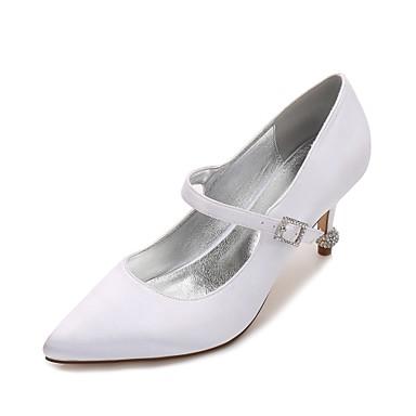 Confort Bas Printemps mariage Chaussures Femme Talon Basique Satin Cône Kitten Talon Aiguille Escarpin Talon Heel Eté 06074594 Bout de Chaussures z1YYZ4