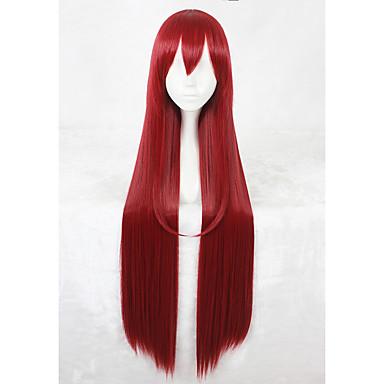 Szintetikus parókák Egyenes Sűrűség Sapka nélküli Piros Jelmez paróka Hosszú Szintetikus haj