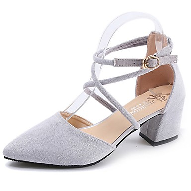 Women's Shoes Suede Summer Gladiator Heels Walking Shoes Chunky Heel Pointed Toe Buckle Black / Gray / Pink