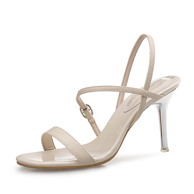 Women's Shoes Synthetic Microfiber PU Summer / Fall Slingback / Light Soles Sandals Stiletto Heel Gore White / Black / Almond / Wedding