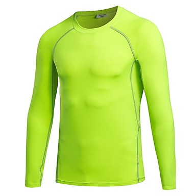 Men's Crew Neck Running Baselayer - Light Red, Royal Blue, Fruit Green Sports Tee / T-shirt / Sweatshirt / Top Fitness, Gym, Workout Long Sleeve Activewear Lightweight, Breathability, Stretchy