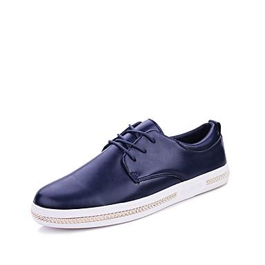 رجال أوكسفورد مريح نعال خفيفة أحذية الغوص ربيع خريف جلد حقيقي جلد PU فضفاض دانتيل كعب مسطح أسود بني أزرق مسطح