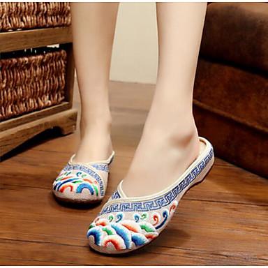 Damen Schuhe Leinwand Sommer Komfort Slippers & Flip-Flops Für Normal Rot Blau