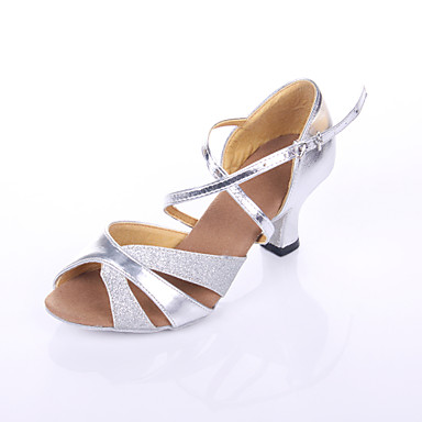 Women's Latin Shoes Leatherette Heel Splicing Customized Heel Customizable Dance Shoes Silver / Indoor