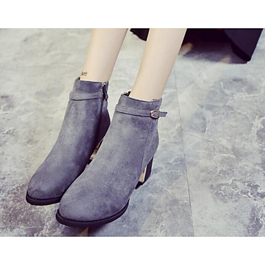 Damen Schuhe Echtes Leder PU Frühling Winter Komfort Modische Stiefel Springerstiefel Stiefel Für Normal Schwarz Grau