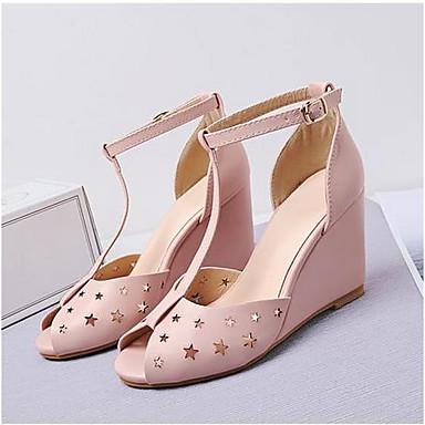 Damen Schuhe PU Sommer Komfort High Heels Für Normal Weiß Mandelfarben Leicht Rosa