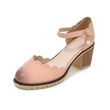 Damen Schuhe Künstliche Mikrofaser Polyurethan PU Frühling Sommer Pumps High Heels Blockabsatz Runde Zehe Schnalle Für Hochzeit Normal
