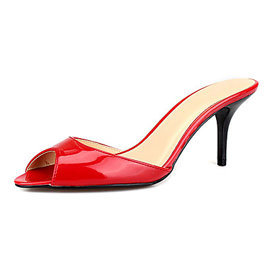 Unisex Schuhe PU Sommer Fersenriemen Sandalen Stöckelabsatz Peep Toe Schwarz / Rot