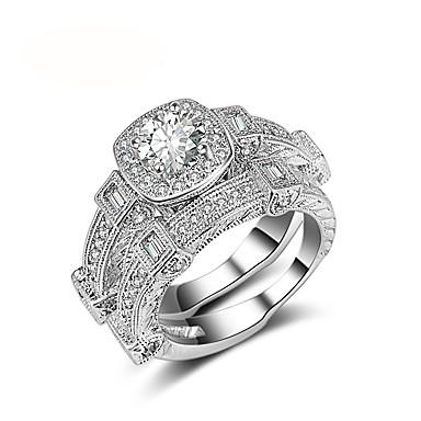 Női Luxus Kocka cirkónia Platina bevonat Band Ring - Kör Luxus / Vintage Ezüst Gyűrű Kompatibilitás Esküvő / Eljegyzés / Ünnepség