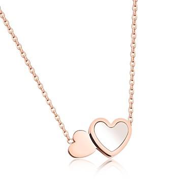 Női Luxus Szív Kocka cirkónia Nyaklánc medálok  -  Luxus Szerelem Nyilatkozat Ezüst Vörös arany Nyakláncok Kompatibilitás Parti