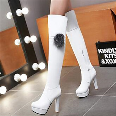 Damen Schuhe PU Frühling Komfort Stiefel Für Normal Weiß Schwarz