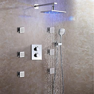 Zuhany csaptelep - Kortárs / LED Króm Fali Kerámiaszelep