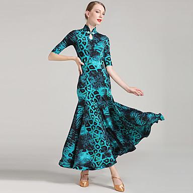Ballroom Dance Women's Performance Ice Silk Buttons Half Sleeves Natural Dress