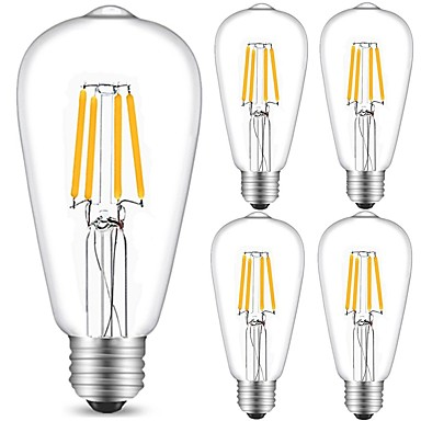 5pcs 4 W 360 lm E26 / E27 Izzószálas LED lámpák ST64 4 LED gyöngyök COB Dekoratív Meleg fehér / Hideg fehér 220-240 V / 5 db. / RoHs