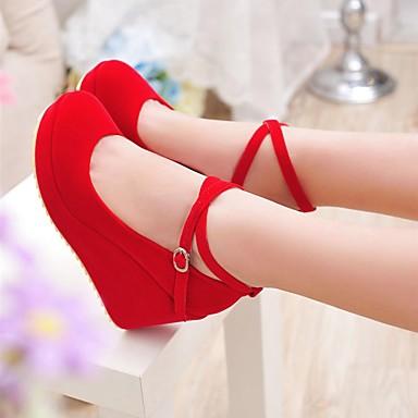Damen Schuhe PU Frühling Herbst Komfort High Heels Keilabsatz Runde Zehe Für Normal Schwarz Rot
