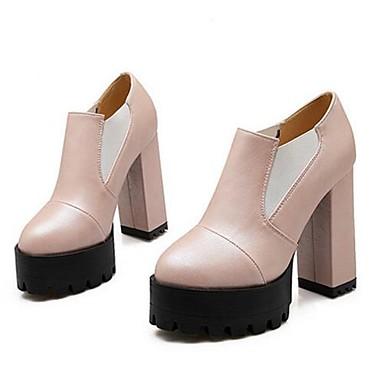 Damen Schuhe PU Frühling Komfort High Heels Für Normal Weiß Schwarz Rot Rosa