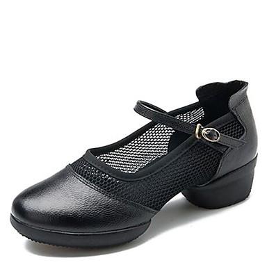 Női Tánccipők Háló / Nappa Leather Sportcipő Alacsony Dance Shoes Fekete / Piros