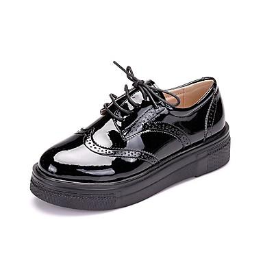 compensée rond Bout semelle Chaussures Chaussures Printemps de Rouge Verni 06177599 Oxfords Automne Femme Noir Hauteur Cuir formelles Lacet C7qwPPRO